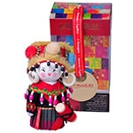 Boneca Decorativa Oriental Jingpo Pequena em Tecido - 12x7 cm