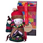 Boneca Decorativa Oriental Lahu Pequena em Tecido - 12x7 cm