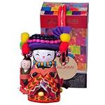 Boneca Decorativa Oriental Monba Pequena em Tecido - 12x7 cm