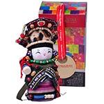 Boneca Decorativa Oriental Yugur Pequeno em Tecido - 12x7 cm
