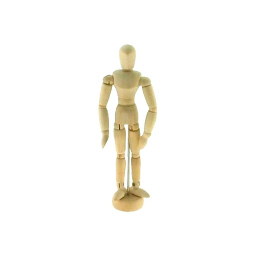 Boneco Articulado Pequeno em Madeira Clara - 15x4 cm