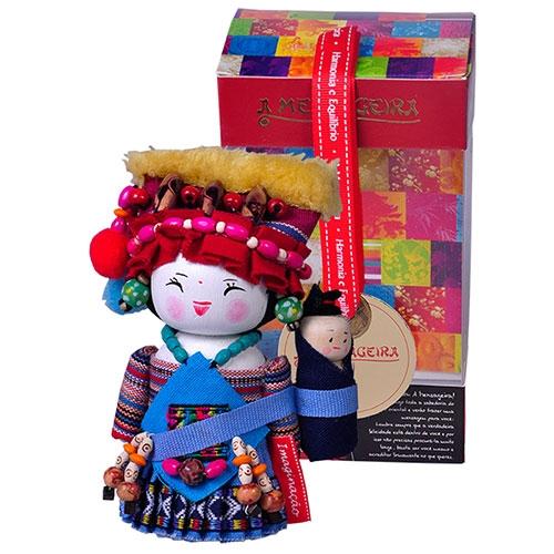 Boneco Decorativo Oriental Gelao Pequeno em Tecido - 12x7 cm