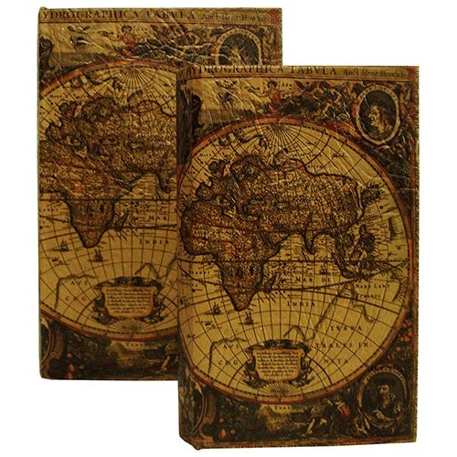 Book Box 2 Peças World Map Oldway - 22x17x5 cm