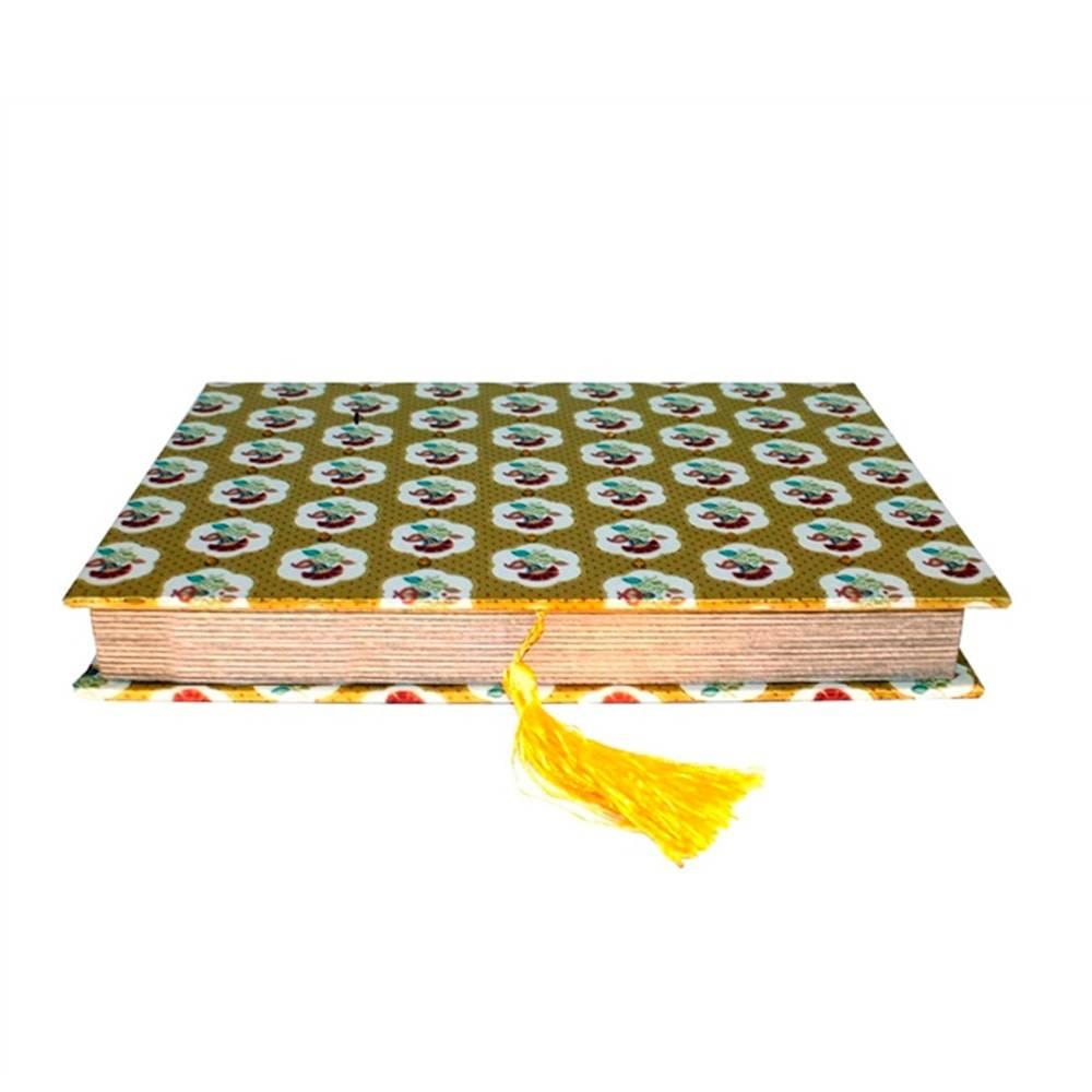 Book Box para Anéis Fina Flor Amarelo em Tecido - 27x19 cm