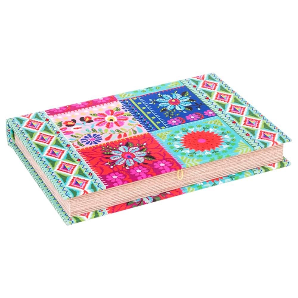 Book Box para Anéis Patchwork Colorido em Madeira Revestida em Tecido - 30x20 cm