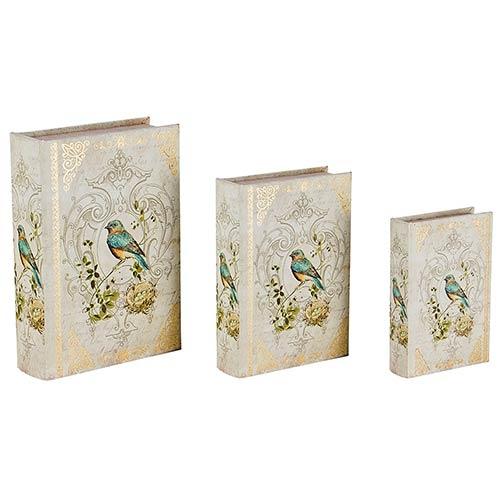 Book Box Arabescos Conjunto 3 Peças Passáro Azul Oldway - 36x25x10cm