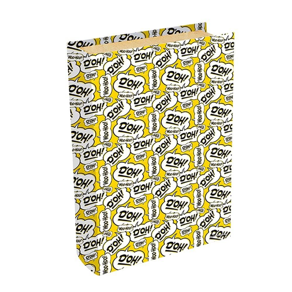 Book Box Bordões Homer Simpson - Fundo Amarelo - The Simpsons - em Madeira - 24x16 cm