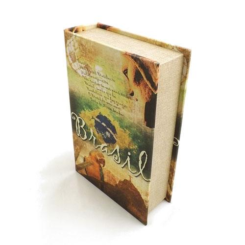 Book Box Brasil - Caixa Livro / Porta objetos - Madeira - 19x27cm