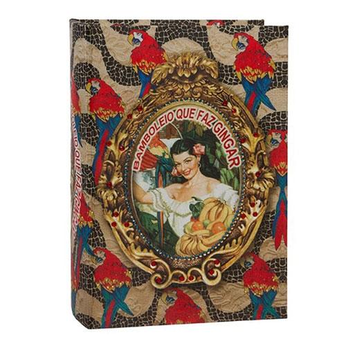 Book Box Brasil Chic Arara em Madeira - 30x21 cm