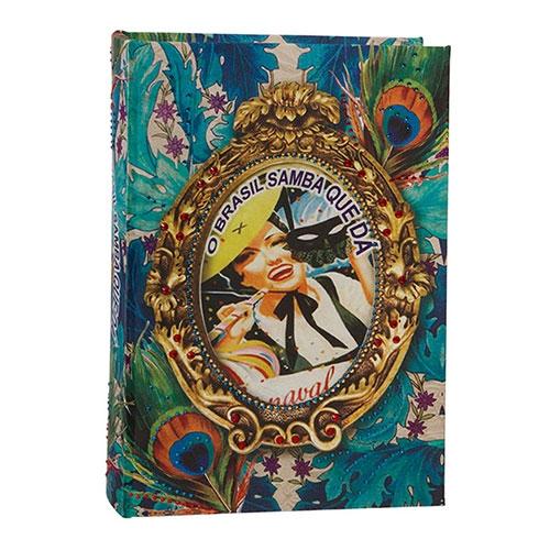 Book Box Brasil Chic Pavão em Madeira - 30x21 cm