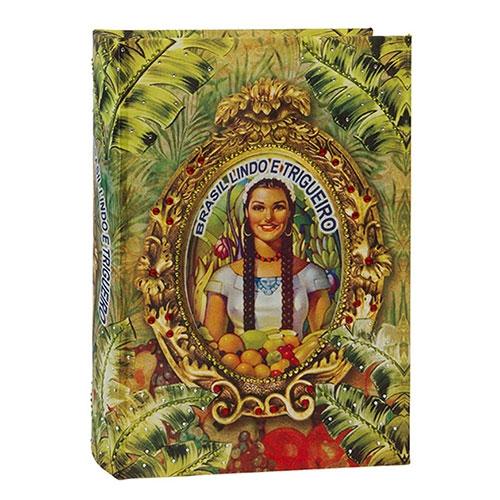 Book Box Brasil Chic Trigueiro em Madeira - 30x21 cm