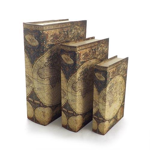 Book Box c/ Segredo Conjunto 3 Peças Mapa Mundi Oldway - 36x25x10cm