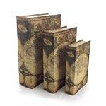 Book Box c/ Segredo Conjunto 3 Peças Mapa Mundi Oldway