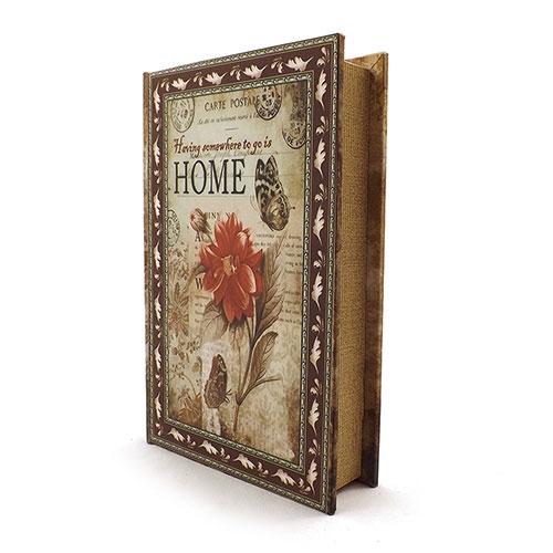 Book Box Cartão Postal Home - Caixa Livro / Porta Objetos - Madeira - 26x17 cm