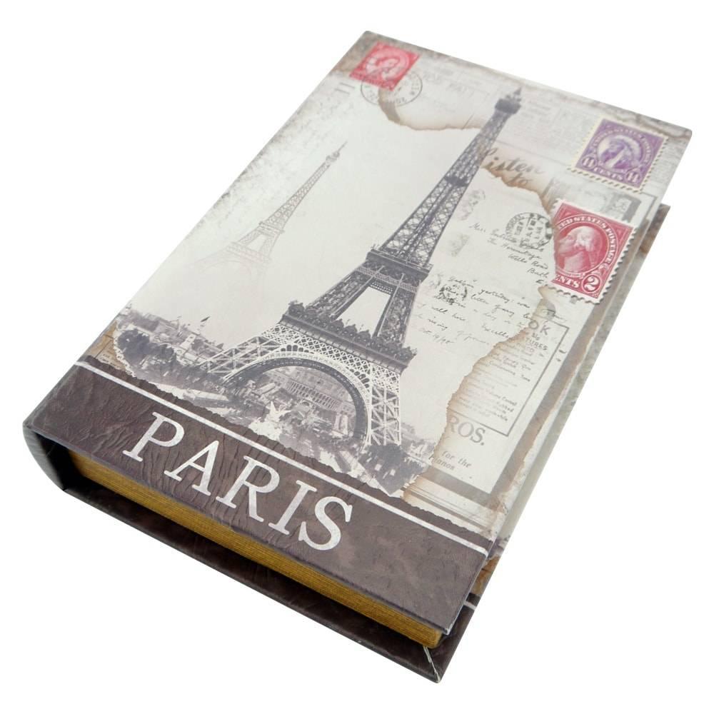Book Box Cartão Postal Paris Branco com Chave em Madeira - 26x17 cm