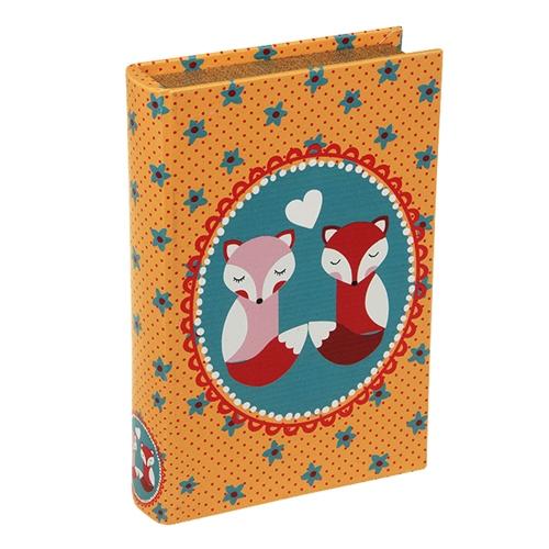 Book Box Casal de Raposas em Madeira - 24x15 cm