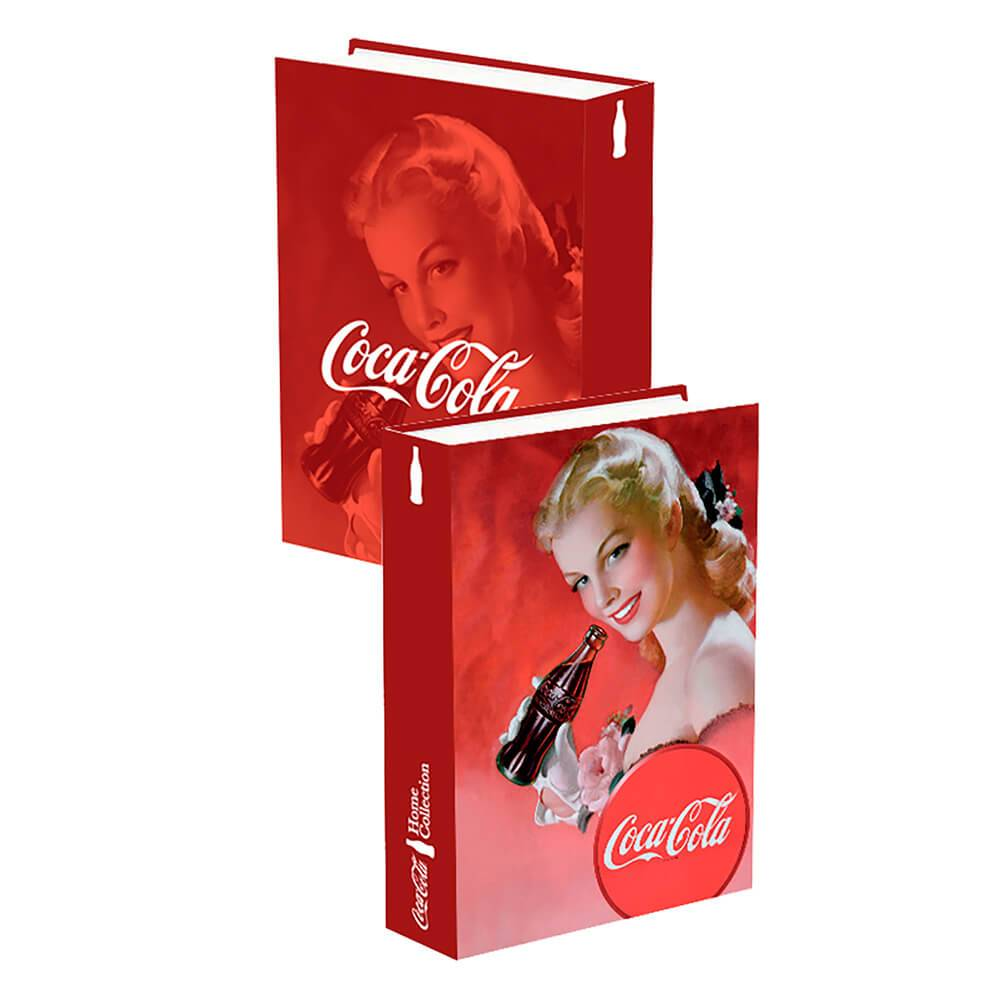 Book Box Coca-Cola Pin Up Blond Lady Face Vermelho em Madeira - Urban - 25x17cm