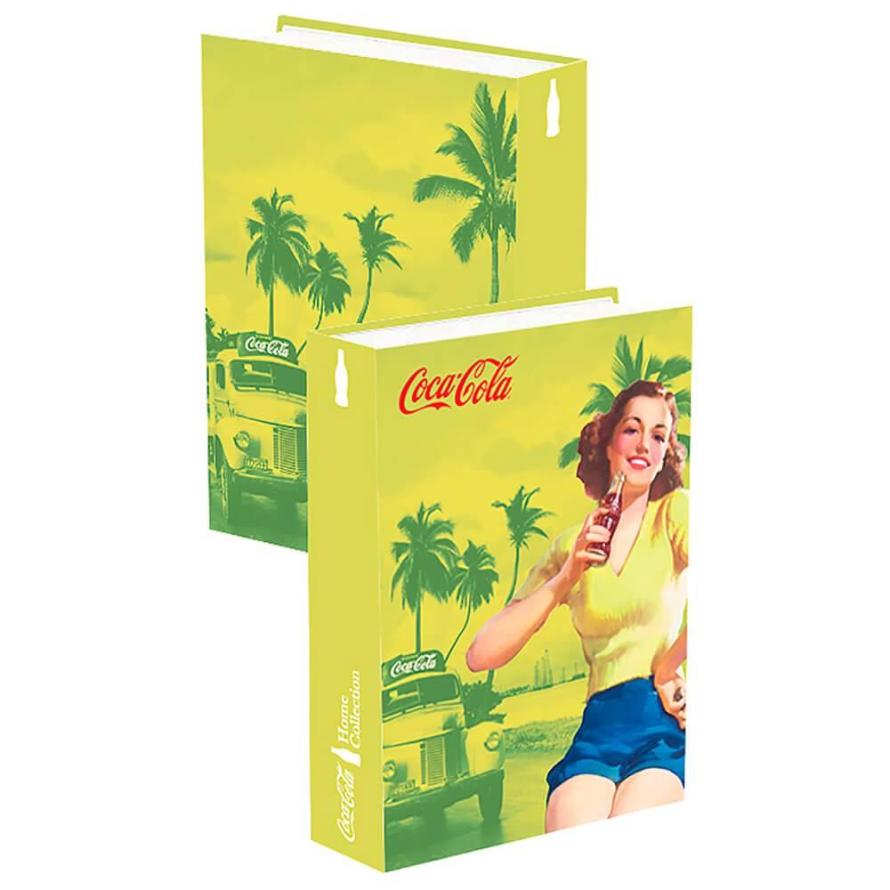 Book Box Coca-Cola Pin Up Brown Lady Amarelo em Madeira - Urban - 25x17cm
