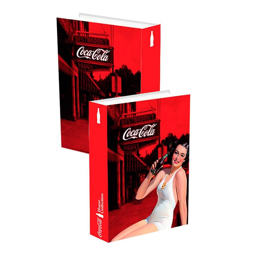 Book Box Coca-Cola Pin Up Brunette Lady Vermelho em Madeira - Urban - 25x17cm