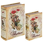 Book Box Conjunto 2 Peças Christmas c/ Rosa Oldway - 27x18x7cm
