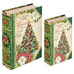 Book Box Conjunto 2 Peças Christmas Tree Oldway - 27x18x7cm