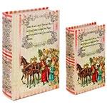 Book Box Conjunto 2 Peças Santa Claus c/ Criança Oldway - 27x18x7cm