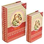 Book Box Conjunto 2 Peças Santa Claus Oldway - 27x18x7cm