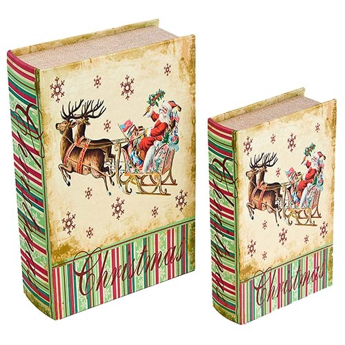 Book Box Conjunto 2 Peças Trenó com Renas Oldway - 27x18x7cm