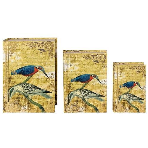 Book Box Conjunto 3 Peças 2 Pássaros Fundo Dourado Oldway - 36x25x10cm