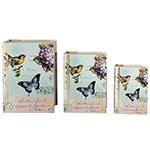 Book Box Conjunto 3 Peças Azul com Borboletas Oldway - 36x25 cm