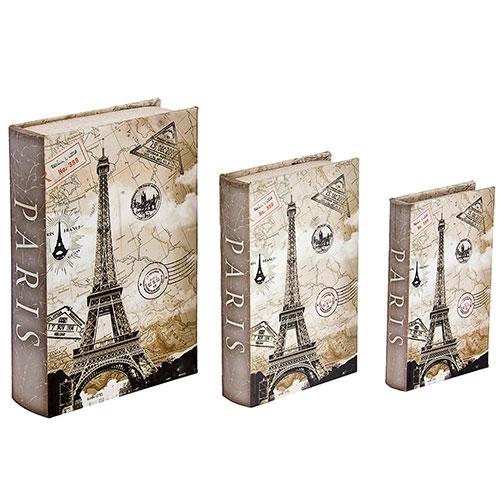 Book Box Conjunto 3 Peças Carimbo Passaporte Eiffel Oldway - 30x21 cm