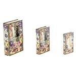 Book Box Conjunto 3 Peças Flower com Foto Oldway - 33x21 cm