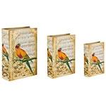 Book Box Conjunto 3 Peças Notas Musicais Pássaros Oldway - 36x25x10cm