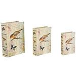 Book Box Conjunto 3 Peças Pássaros e Borboletas Oldway - 36x25 cm