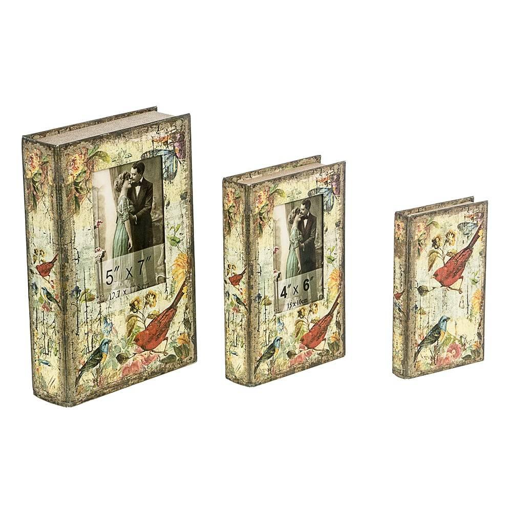 Book Box Conjunto 3 Peças Pássaros com Foto Oldway - 33x21 cm