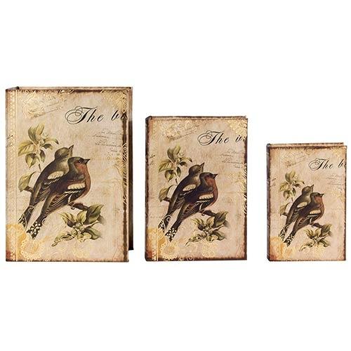 Book Box Conjunto 3 Peças Seda 2 Pássaros Galhos Oldway - 36x25x10cm