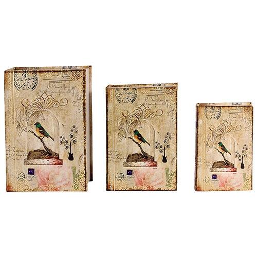 Book Box Conjunto 3 Peças Seda Pássaro Gaiola Oldway - 36x25x10cm