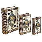 Book Box Conjunto 3 Peças Seda/Strass Cartas Oldway - 30x21x7cm