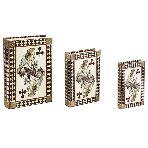 Book Box Conjunto 3 Peças Seda/Strass Naipes Oldway - 30x21x7cm