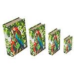 Book Box Conjunto 4 Peças Arara Vermelha Amazônia Fullway - 30x21 cm