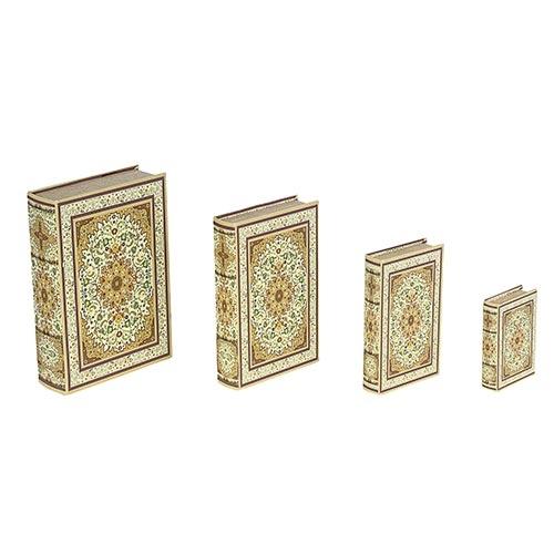 Book Box Conjunto 4 Peças Design Tapete Claro Oldway - 33x21 cm