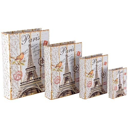 Book Box Conjunto 4 Peças Eiffel Tower c/ Pássaro Oldway - 37x27x8cm