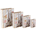 Book Box Conjunto 4 Peças Eiffel Tower c/ Pássaro Oldway