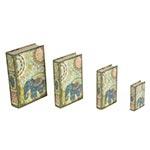 Book Box Conjunto 4 Peças Elefante da Índia Oldway - 30x21 cm