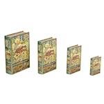 Book Box Conjunto 4 Peças Elefante Vermelho Oldway - 30x21 cm