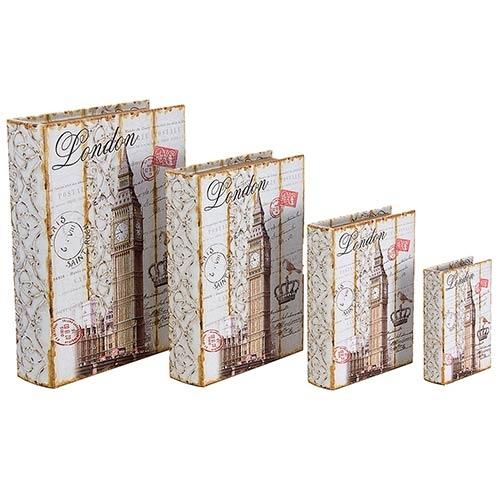 Book Box Conjunto 4 Peças London Fundo Branco Oldway - 37x27x8cm