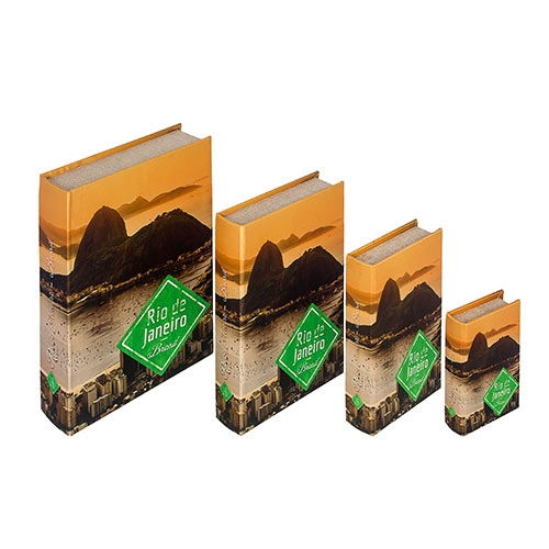 Book Box Conjunto 4 Peças Pão de Açúcar Rio de Janeiro Fullway - 30x21 cm