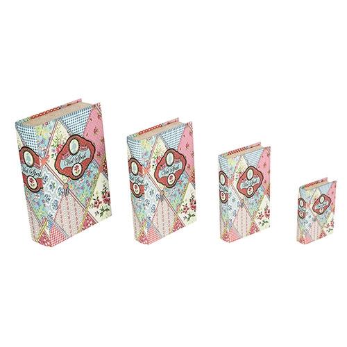 Book Box Conjunto 4 Peças Patchwork Oldway - 33x21 cm