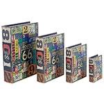 Book Box Conjunto 4 Peças Route 66 Placas Fullway - 37x27x8cm