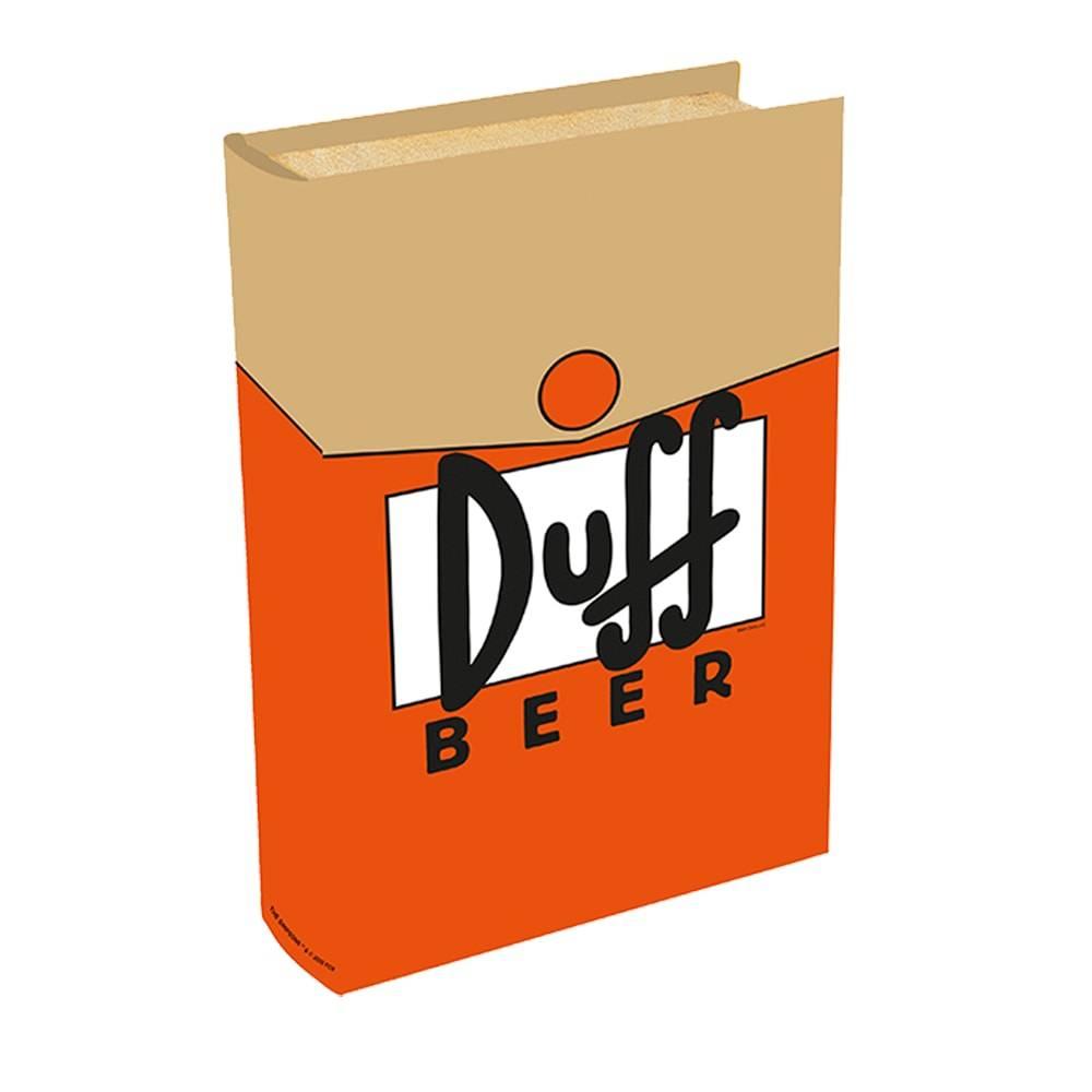 Book Box Duff Beeer Laranja/Bege - The Simpsons - em Madeira - 24x16 cm